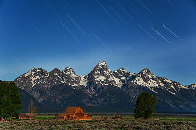 Photograph - Teton Star Trails by Darren  White