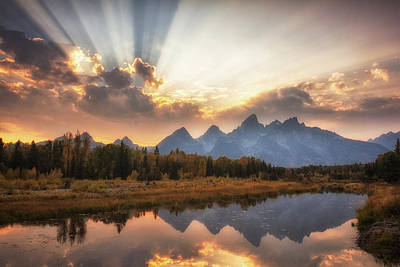 Photograph - Teton Sunbeams by Jeff Handlin