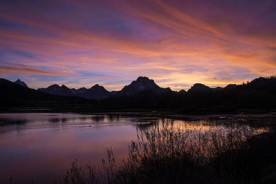 Print featuring the photograph Teton Sunset by Gary Lengyel
