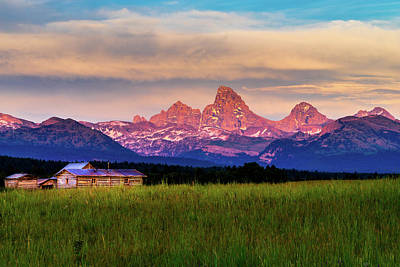 Log Cabin Interiors Photograph - Teton Valley Sunset by TL  Mair