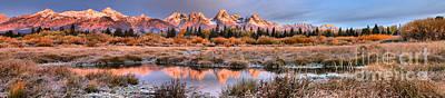 Photograph - Teton Willows Sunrise Panorama by Adam Jewell