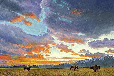Grand Tetons Wall Art - Painting - Tetons-looking South At Sunset by Paul Krapf