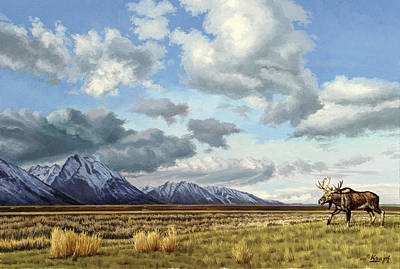 Teton Painting - Tetons-moose by Paul Krapf
