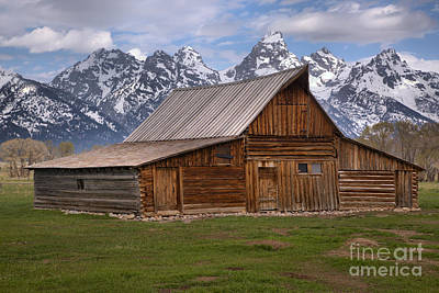 Tetons Towering Over The Moulton Barn Art Print by Adam Jewell