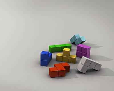 Tetris Block Digital Art - Tetris 3d Tetris Blocks                   by F S