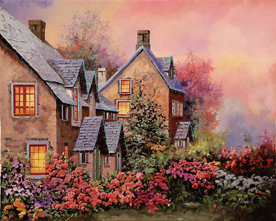 Dusk Wall Art - Painting - Tetti Viola E Luci by Guido Borelli