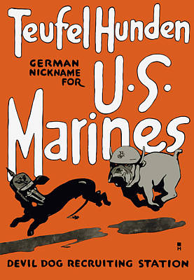 Us Propaganda Painting - Teufel Hunden - German Nickname For Us Marines by War Is Hell Store