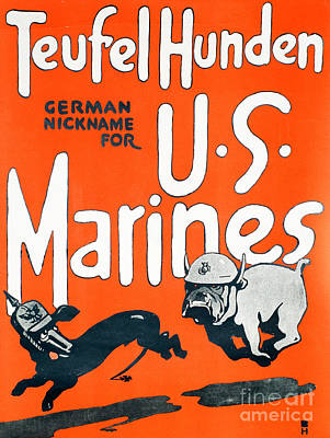 Strong America Painting - Teufel Hunden Us Marines Poster by American School
