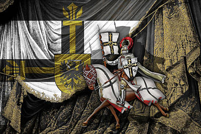 Teutonic Knight Rider On Horseback In Front Of The Teutonic Flag. Original by Serge Averbukh