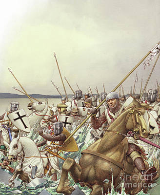 Crusade Painting - Teutonic Knights Chased Their Russian Foes Across The Frozen Lake Peipus by Pat Nicolle