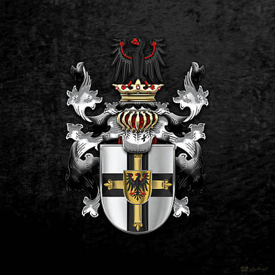 Digital Art - Teutonic Order - Coat Of Arms Over Black Velvet by Serge Averbukh