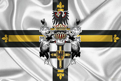 Coat Of Arms Digital Art - Teutonic Order - Coat Of Arms Over Flag by Serge Averbukh