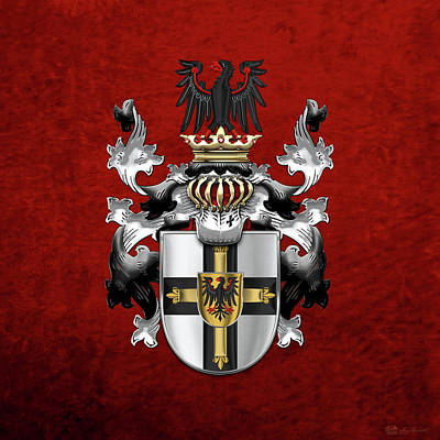 Digital Art - Teutonic Order - Coat Of Arms Over Red Velvet by Serge Averbukh