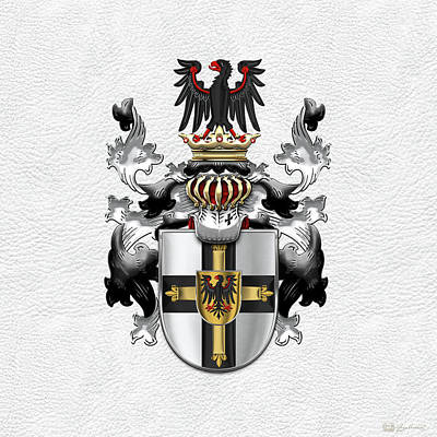 Digital Art - Teutonic Order - Coat Of Arms Over White Leather by Serge Averbukh