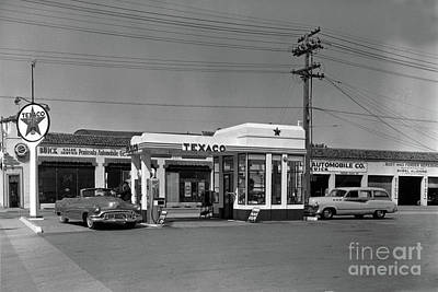 Photograph - Texaco Gas Station, Buick Sales Service Monterey 1952 by California Views Mr Pat Hathaway Archives