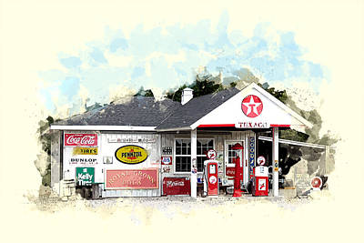 Service Station Painting - Texaco Gas Station by Elaine Plesser