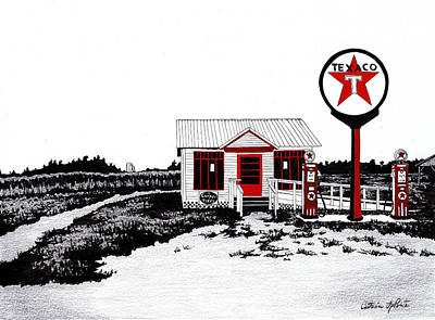 Texaco Sign Painting - Texaco Gas Station St. Lawrence Power And Equipment Museum by Catherine LaPointe Vollmer