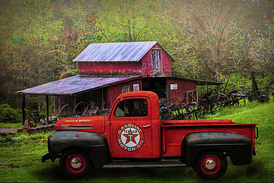 Photograph - Texaco Truck On A Smoky Mountain Farm In Colorful Textures  by Debra and Dave Vanderlaan