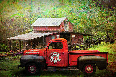 Photograph - Texaco Truck On A Smoky Mountain Farm In Painted Textures by Debra and Dave Vanderlaan