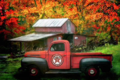Photograph - Texaco Truck On A Smoky Mountain Farm Painting by Debra and Dave Vanderlaan