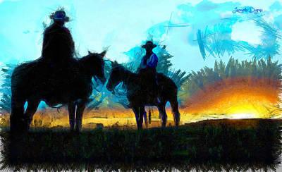 Cattle Digital Art - Texan Lifestyle - Da by Leonardo Digenio