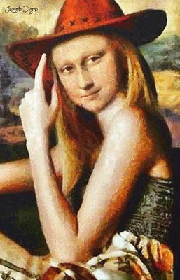 Texan Mona Lisa - Da Art Print by Leonardo Digenio