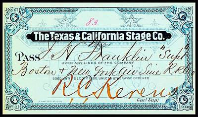 Drawing - Texas And California Stage Company Boston And New York Air Line Railroad Ticket 19th Century by Peter Gumaer Ogden