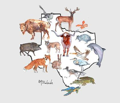 Painting - Texas Animals by Kathleen McElwaine