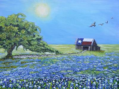 Texas Barn And Live Oak Art Print