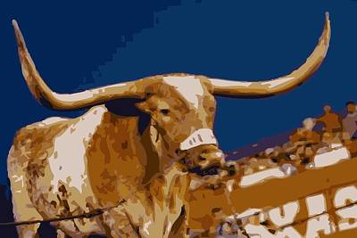 Capitol Building Digital Art - Texas Bevo Color 16 by Scott Kelley