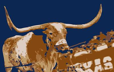 Heart Of Texas Digital Art - Texas Bevo Color 6 by Scott Kelley