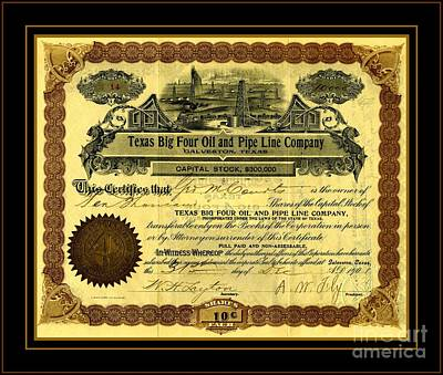 Drawing - Texas Big Four Oil And Pipeline Company Stock Certificate 1901 With Oil Field And Tanker Train Scene by Peter Gumaer Ogden