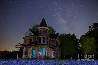 Photograph - Texas Blue Bonnets At Night With Hearn Gidden House by Keith Kapple