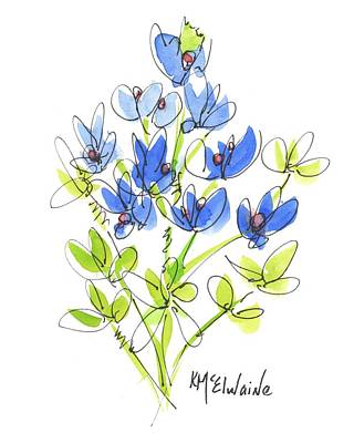 Painting - Texas Bluebonnet Botanical by Kathleen McElwaine