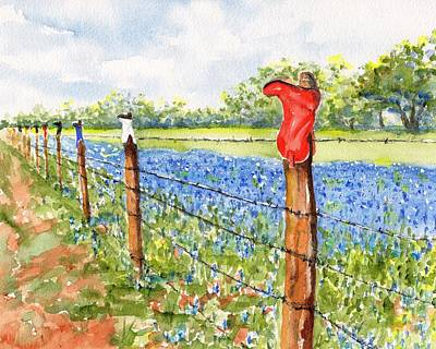 Painting - Texas Bluebonnets Boot Fence by CarlinArt Watercolor