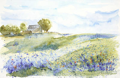 Print featuring the painting Texas Bluebonnets by Sandra Strohschein