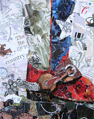 Torn Paper Painting - Texas Boot by Suzy Pal Powell