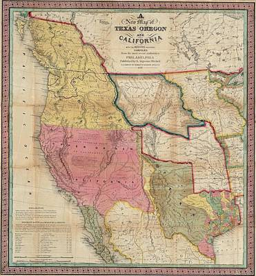 Texas California And Oregon  Original by Samuel Augustus Mitchell