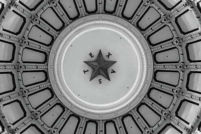 Photograph - Texas Capitol Building Dome In Black And White - Austin Tx by Gregory Ballos