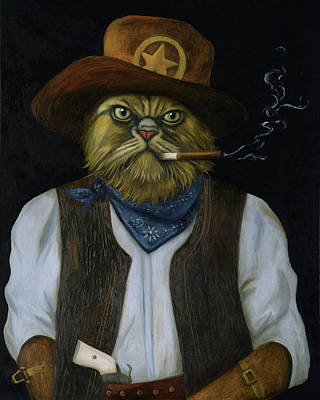 Art Print featuring the painting Texas Cat With An Attitude by Leah Saulnier The Painting Maniac