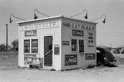 Texas Cattle-brand Burger Stand  1939 Art Print by Daniel Hagerman