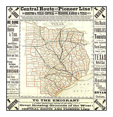 Drawing - Texas Central Route And Pioneer Line County Railroad Map 1875 For Emigrants by Peter Gumaer Ogden Collection