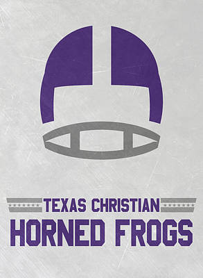 Frogs Mixed Media - Texas Christian Horned Frogs Vintage Football Art by Joe Hamilton