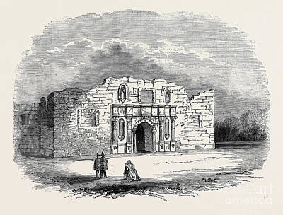 Pen And Ink Historic Buildings Drawings Drawing - Texas  Church Of Alamo, San Antonio De Bexar by American School
