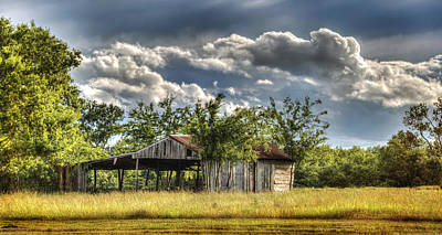 Photograph - Texas Clouds Over A Honey Grove Barn by Lisa Moore
