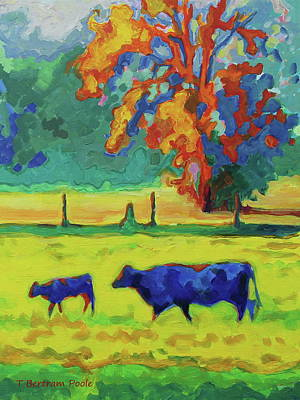 Painting - Texas Cow And Calf At Sunset Print Bertram Poole by Thomas Bertram POOLE