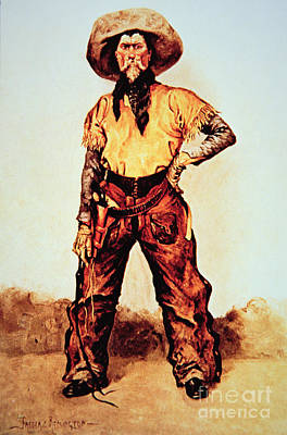 Texas Cowboy Art Print by Frederic Remington