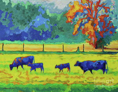 Texas Cows And Calves At Sunset Painting T Bertram Poole Art Print by Thomas Bertram POOLE