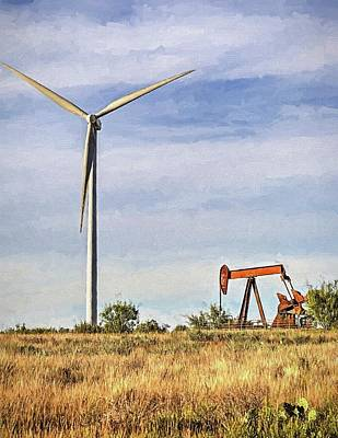 Digital Art - Texas Energy New And Old by JC Findley