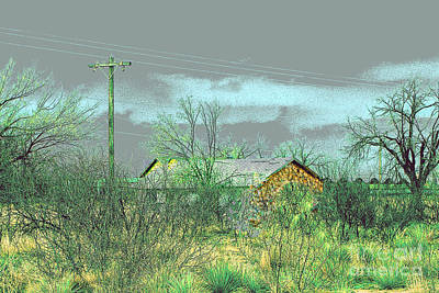 Art Print featuring the photograph Texas Farm House - Digital Painting by Merton Allen
